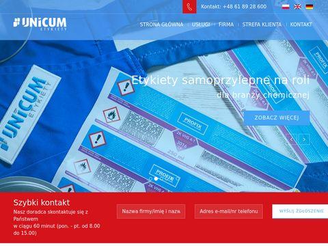 Unicum.com.pl - etykieta samoprzylepna
