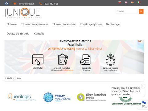 Junique.com.pl biuro tłumaczeń