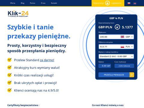 Klik-24.com wysyłka pieniędzy z Anglii do Polski