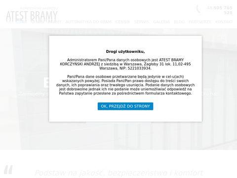 Atest-bramy.pl automatyka i siłowniki Warszawa